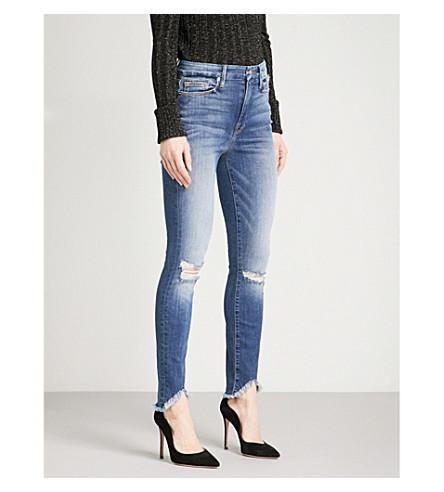 GOOD AMERICAN Good Legs frayed-hem slim-fit high-rise jeans (Blue