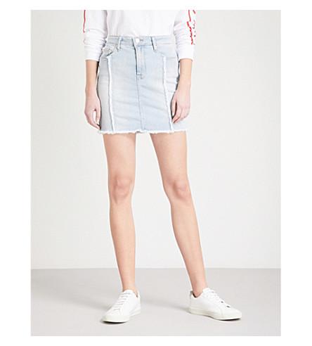 GOOD AMERICAN Distressed Seam denim mini skirt (Blue136