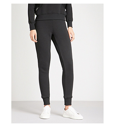 GOOD AMERICAN Mesh-insert cotton-jersey jogging bottoms (Black