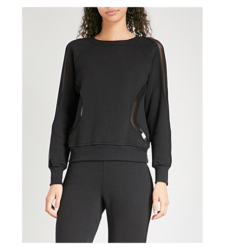 GOOD AMERICAN Mesh-insert cotton-jersey sweatshirt (Black