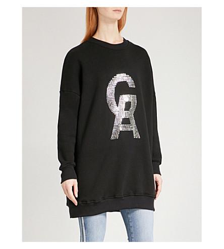 GOOD AMERICAN Logo-diamanté cotton-jersey sweatshirt (Black