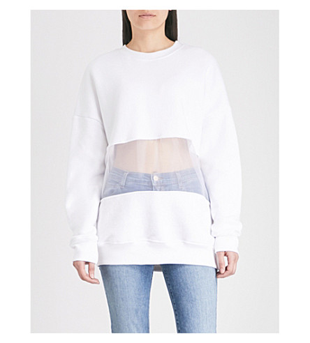 GOOD AMERICAN The Mixed Mesh cotton-jersey sweatshirt (White001