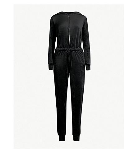GOOD AMERICAN Velour hooded jumpsuit (Black001