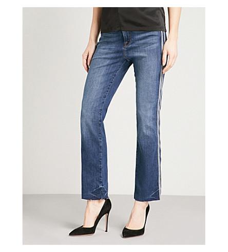 GOOD AMERICAN 良好的直运动常规版型高腰牛仔裤 (蓝色