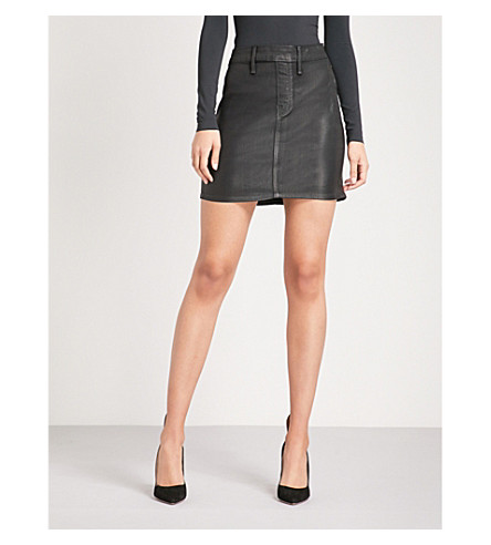 GOOD AMERICAN The Waxed coated stretch-denim mini skirt (Black
