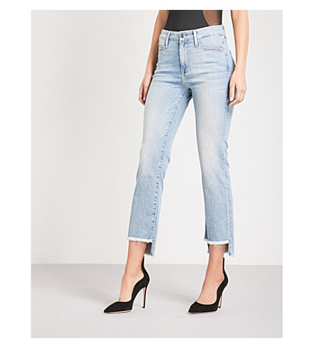 GOOD AMERICAN Good Straight Raw Stagger stepped-hem straight high-rise jeans (Blue