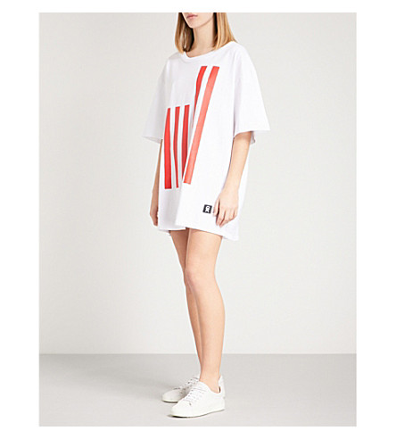 GOOD AMERICAN Flag-print cotton-jersey T-shirt dress (White