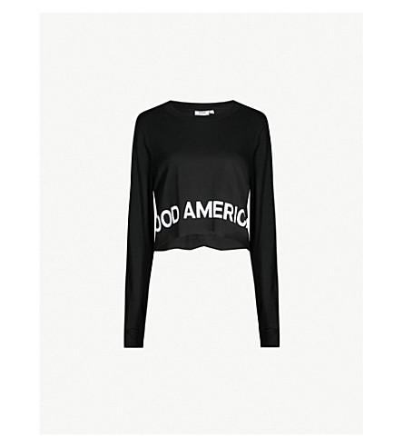 GOOD AMERICAN Logo-print cotton-jersey cropped top (Black