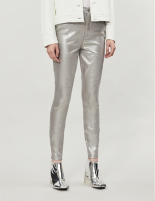 Good Waist metallic stretch-denim jeans
