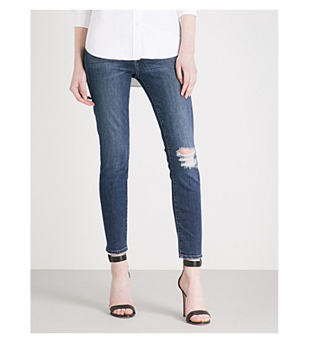 GOOD AMERICAN Good Waist skinny cropped high-rise jeans (Blue