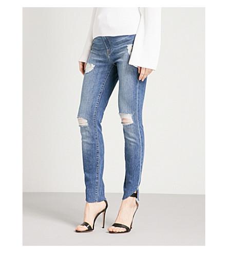 GOOD AMERICAN 好腰层叠-下摆瘦的高层牛仔裤 (蓝色
