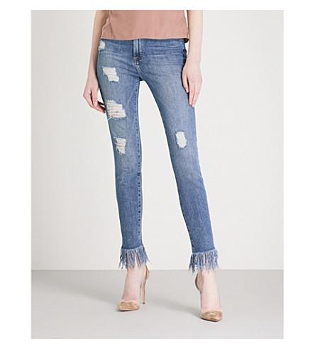 GOOD AMERICAN Good Waist frayed-hem skinny high-rise jeans (Blue