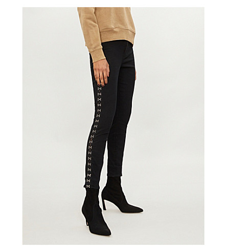 GOOD AMERICAN Good Waist hook-and-eye skinny high-rise jeans (Black