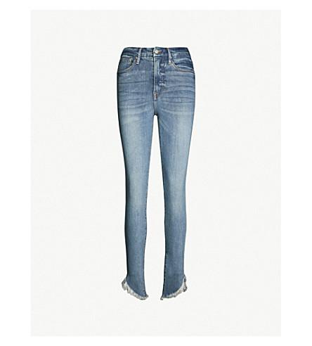 GOOD AMERICAN Good Waist slash frayed-hem slim-fit high-rise jeans (Blue