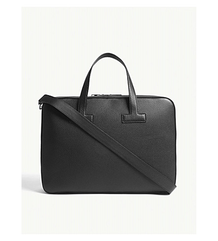 TOM FORD Pebbled leather briefcase (Black