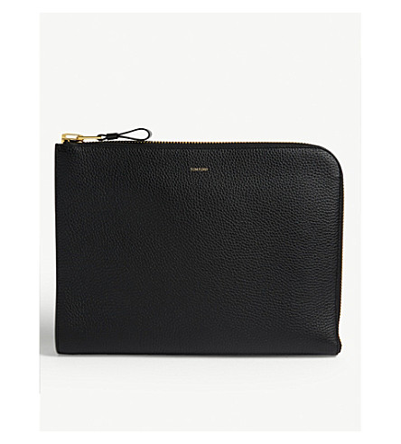 TOM FORD Grained leather folio (Black