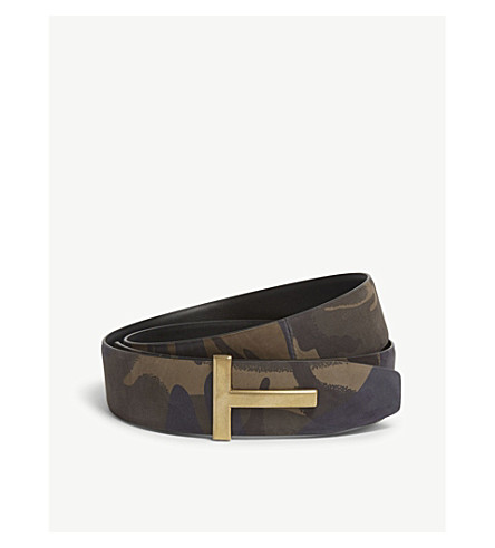 TOM FORD Camouflage leather 'T' belt