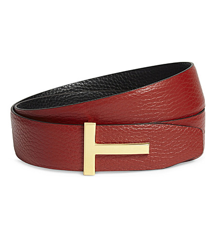 TOM FORD Icon leather belt (Orange+black