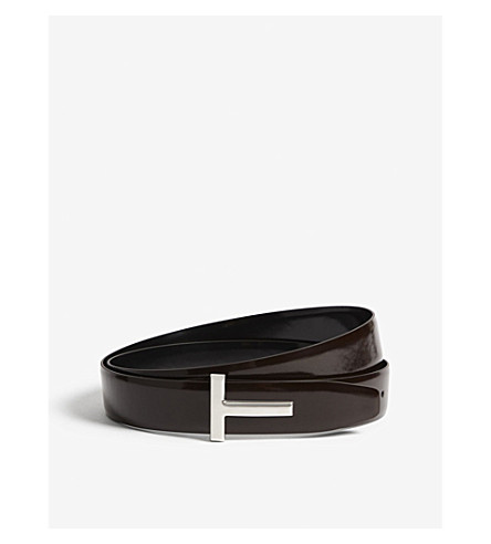 TOM FORD Spazzolato reversible leather belt (Boilet+black