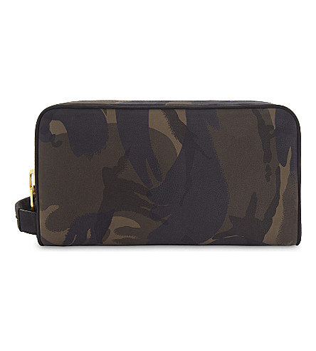 TOM FORD Camouflage nubuck wash bag (Camo