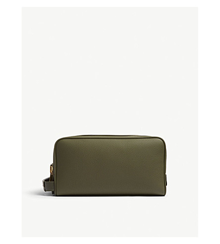 TOM FORD Grained leather wash bag (Olive