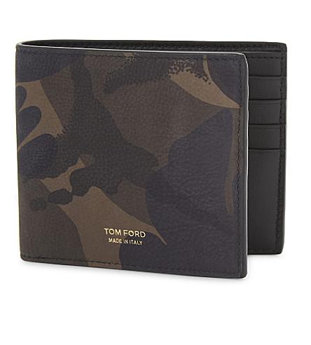 TOM FORD Camouflage nubuck billfold wallet (Camo