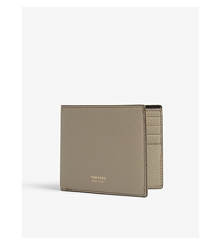 TOM FORD Logo grained leather wallet (Sage+green