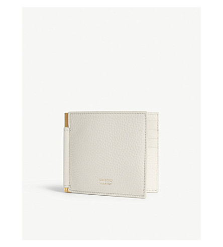 TOM FORD Money clip grained leather wallet (Off+white