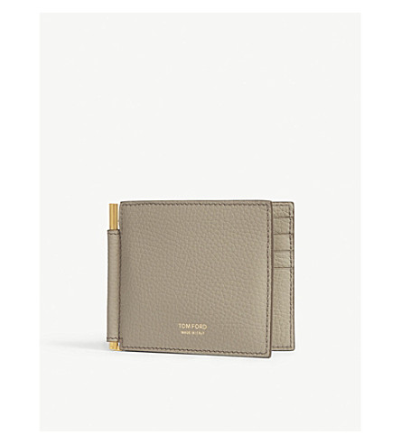 TOM FORD Money clip grained leather wallet (Sage+green