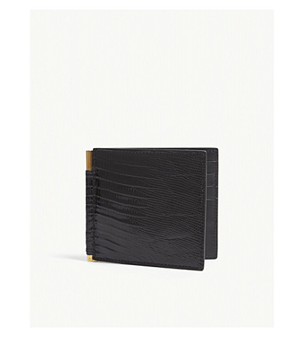 TOM FORD Money clip lizard-embossed leather wallet (Black