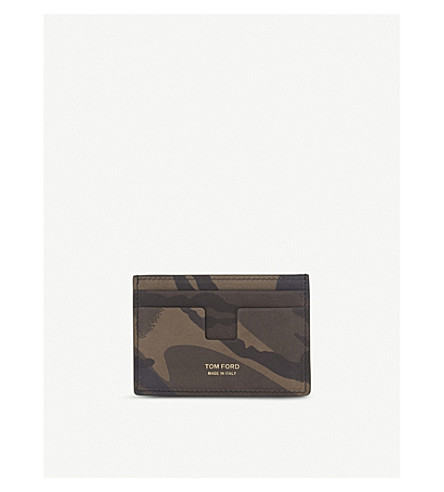 TOM FORD Camouflage nubuck card holder (Camo