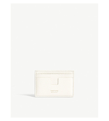 TOM FORD Classic grained-leather card holder (Off+white