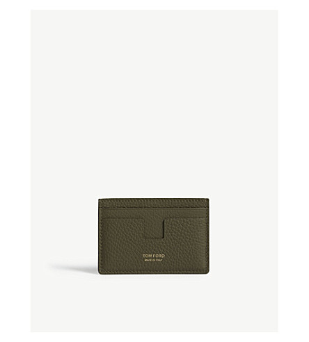 TOM FORD Classic grained-leather card holder (Olive