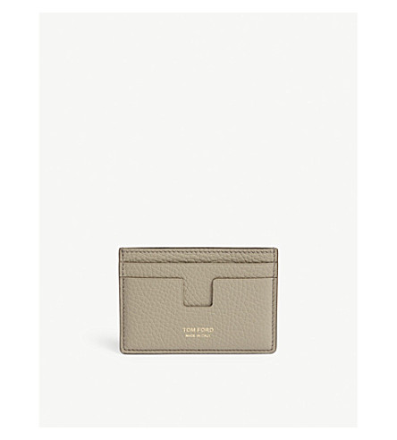 TOM FORD Classic grained-leather card holder (Sage+green