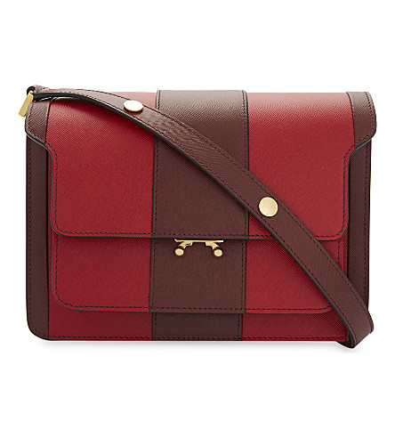 MARNI Trunk leather cross-body bog (Hot+red+ruby