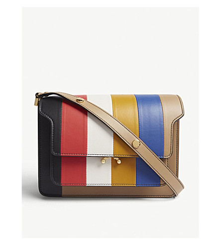 TRUNK STRIPED LEATHER CROSS-BODY BAG