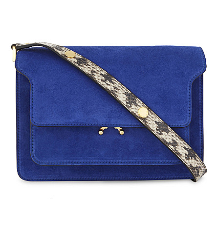 MARNI Trunk leather and suede cross-body bag (Multi