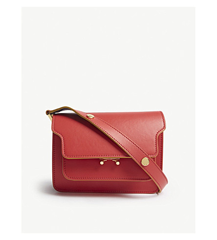 MARNI Trunk small leather shoulder bag (Red