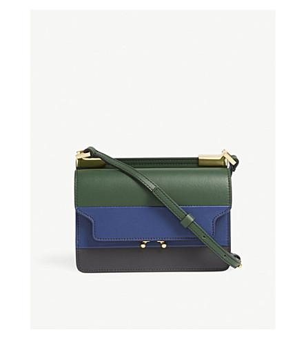 MARNI Trunk micro leather cross-body bag (Green+blue+multi