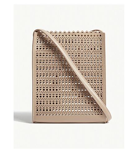 AZZEDINE ALAIA Laser-cut leather pouch (Sable
