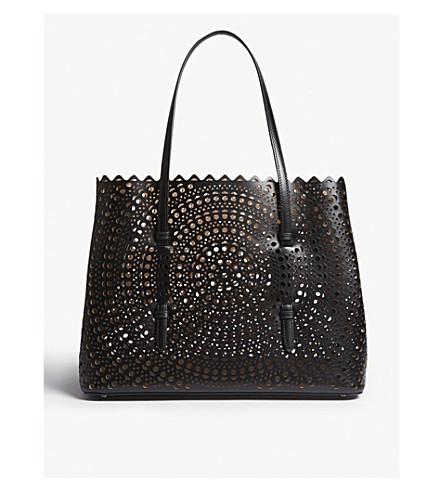 AZZEDINE ALAIA Small laser-cut leather tote (Black