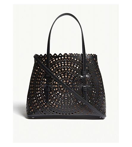 AZZEDINE ALAIA Mini laser-cut leather cross-body bag (Black