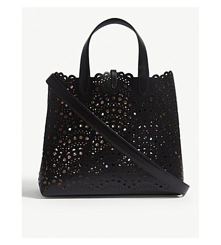 AZZEDINE ALAIA Laser-cut leather tote (Black