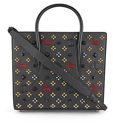 CHRISTIAN LOUBOUTIN Paloma medium leather tote bag (Black+red+gold