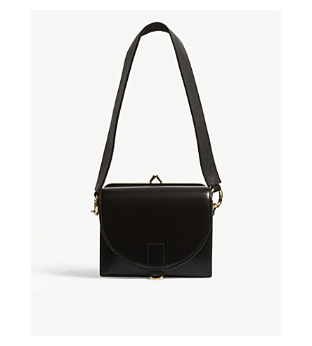 SACAI Contrast leather satchel bag (Black
