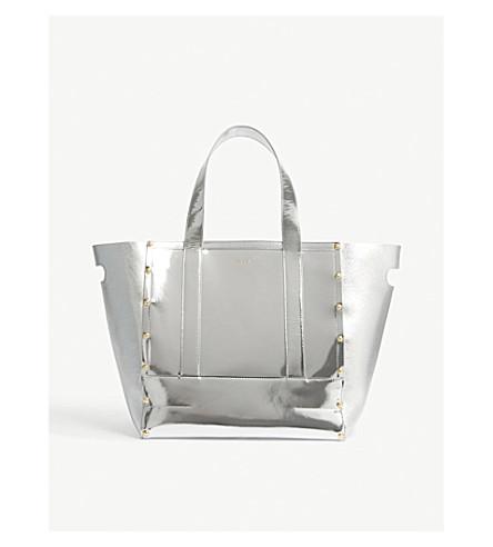 SACAI Oversized metallic leather tote bag (Silver