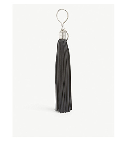 BALMAIN Leather tassel charm (Black