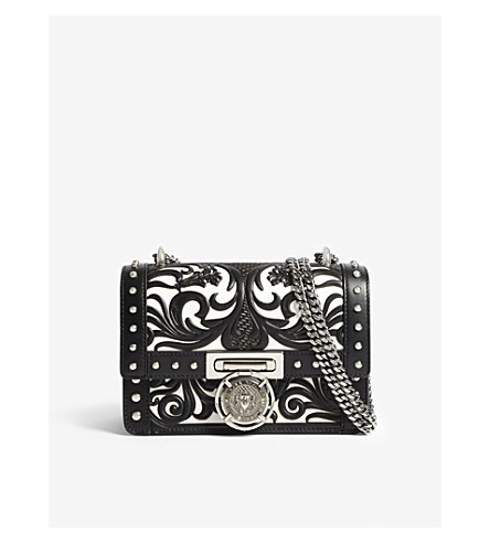 BALMAIN Bbox 20 cut-out leather cross-body bag (Black/white