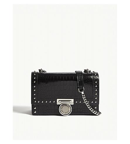 BALMAIN Bbox croc-embossed leather shoulder bag (Black