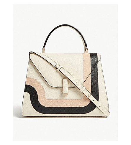 VALEXTRA Iside Toothpaste striped grained leather cross-body bag (White/+pink/black